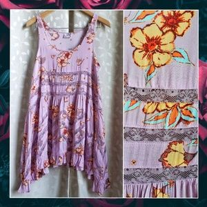 {FreePeople}Lilac Floral Lace Voile Trapeze Dress